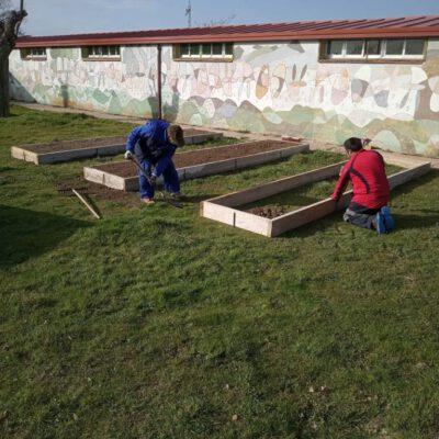 Los trabajadores municipales, a petición del AMPA, ayudan al colegio Teresa Revilla a construir un huerto